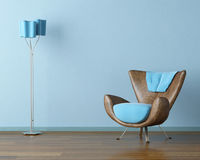 Blue interior with couch and lamp Royalty Free Stock Photo