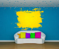 Blue interior with cute yellow splash Royalty Free Stock Photos