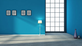 Blue interior with large window Stock Images