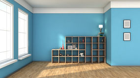 Blue interior with large window Royalty Free Stock Photo