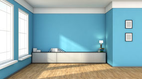 Blue interior with large window Royalty Free Stock Images