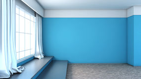 Blue interior with large window Royalty Free Stock Photos
