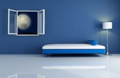 Blue interior by night. Blue night modern interior-the image on background is a my photo,rendering Royalty Free Stock Photography