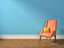 Blue interior with pink armchair. 3d illustration Stock Photography