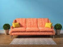 Blue interior with pink sofa. 3d illustration Stock Photos