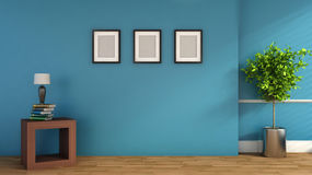 Blue interior with plant and blank picture. 3D illustration Stock Images