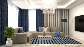Blue interior with sofa and red curtains. 3d illustration Royalty Free Stock Image