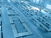 Blue interior warehouse, nobody construction, Royalty Free Stock Images