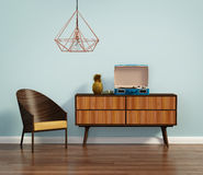 Free Blue Interior With Mid Century Chair And Buffet Stock Photo - 57129270