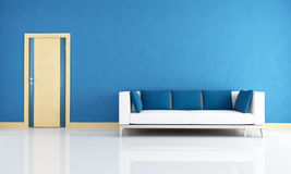 Blue interior with wooden door Royalty Free Stock Photography