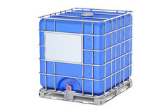Blue intermediate bulk container closeup, 3D rendering Royalty Free Stock Images
