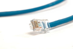 Blue Internet Cable. Blue Network Cable on White Isolated Background Stock Photos