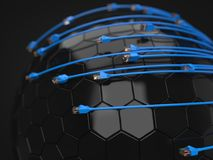 Blue internet cables covering hi-tech sphere. conceptual 3d illustration of ethernet cable and rj-45 plug. With black background. suitable for any internet Royalty Free Stock Photo