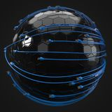 Blue internet cables covering hi-tech sphere. conceptual 3d illustration of ethernet cable and rj-45 plug. With black background. suitable for any internet Stock Images