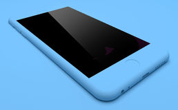 Blue IPhone On Blue Background. A Blue IPhone On Blue Background Royalty Free Stock Image
