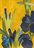 Blue irises, painted Stock Image