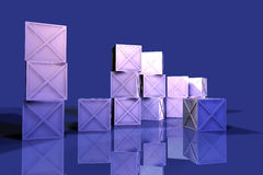 Blue Iron Boxes 2. 3D Illustration. Rough Iron Metal Boxes Royalty Free Stock Photo