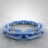 Blue iron chain circle with flare in perspective view Stock Photography