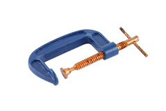 Blue iron clamp Royalty Free Stock Photography