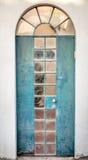 Blue iron door stock photo