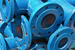 Blue iron pipes Stock Photography