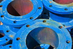 Blue iron pipes as background Stock Photography