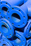 Blue iron pipes Royalty Free Stock Photography
