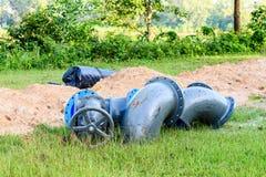 Blue iron pipes Royalty Free Stock Photo