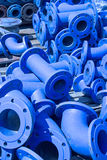 Blue iron pipes Stock Photos
