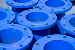 Blue iron pipes Royalty Free Stock Image