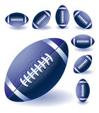 Blue isolaited Rugby balls Royalty Free Stock Photos