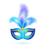 Blue isolated carnival mask with feathers Stock Photography