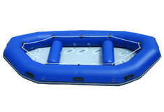 Blue isolated inflatable boat Royalty Free Stock Images