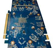Blue isolated motherboard or computer boar with chips and component on it on a white background stock photography