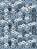 Blue isometric city. With building and streets Stock Photo