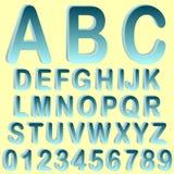 Blue isometric 3D font set. Gradient blue isometric 3D font design set Royalty Free Stock Images
