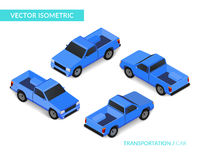 Blue isometric pickup. Vector illustration with car. Can be used for games and infographic. EPS 10 stock illustration