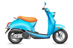 Blue Italian scooter. Orthographic side view. Isolated on white background 3d Stock Photos