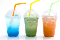 Blue italian soda and ice tea in takeaway cup Stock Photo