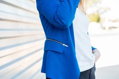 Blue jacket stock photography