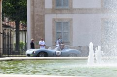 A blue Jaguar D type takes part to the 1000 Miglia classic car race Stock Images