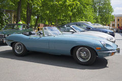 Blue Jaguar E-type Roadster (OTS) Series 2, a side view. Exhibition-parade of sports cars. Turku, Finland Stock Photography