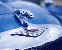 Blue Jaguar vintage car stock images