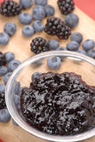 Blue jam. Forest fruits preserve,Forest fruits conserve,forest fruits Royalty Free Stock Images