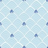 Blue abstract pattern with flowers. royalty free illustration