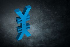 Blue Japanese of Chinese Currency Symbol or Sign With Mirror Reflection on Dark Dusty Background. Blue Japanese of Chinese Currency Symbol Yen or Yuan With royalty free stock photography