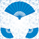 Blue Japanese fans and flowers pattern Royalty Free Stock Photo