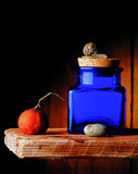 Blue jar. On shelf, with snail, tangerine and stone Stock Photography