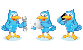 Blue Jay Mascot with phone Stock Photos