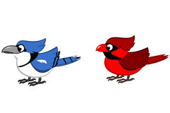 Blue Jay and Northern Cardinal Cartoon. Blue Jay and a Male Northern Cardinal clipart vector illustration
